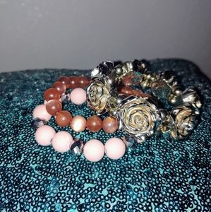 Mauve theme stretch bracelets rose silver tone set